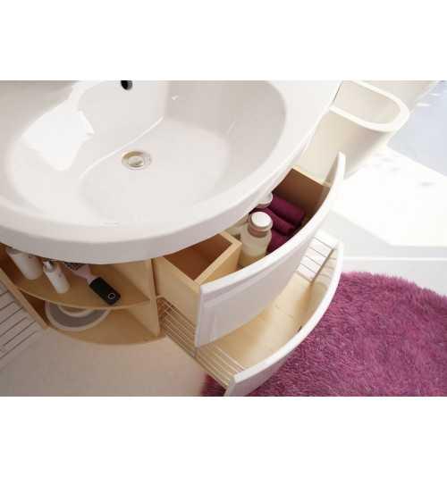 Ravak SDU Rosa Comfort praustuvo spintelė su lentynėlėmis ir stalčiais beržo/balta K
