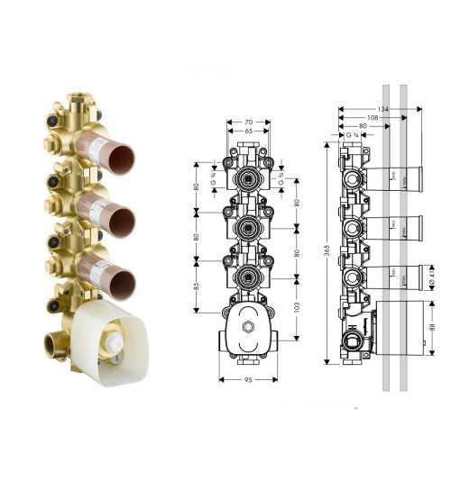 Potinkinė dalis termostatiniam moduliui Hansgrohe Axor Strack Organic trijų kanalų