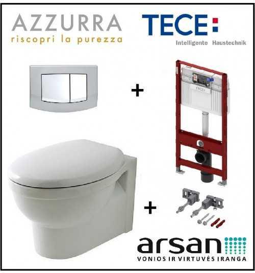 Pakabinamo WC komplektas 4 in 1 Tece rėmas ir  Azzurra Cult unitazas