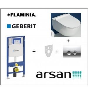 Pakabinamo WC komplektas 4 in 1 Geberit rėmas ir Flaminia unitazas