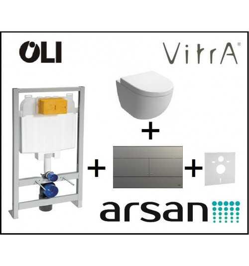 Pakabinamo WC komplektas 4 in 1 Oli rėmas ir Vitra unitazas