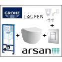Pakabinamo WC komplektas 6 in 1 Grohe rėmas ir Laufen Pro New unitazas
