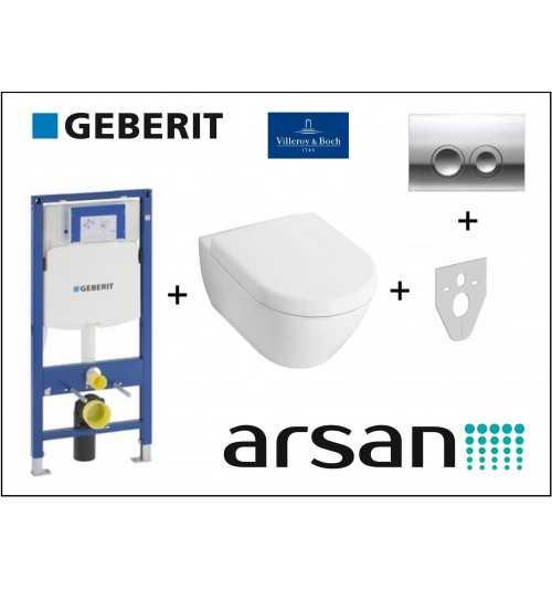 Pakabinamo WC komplektas 4 in 1 Geberit rėmas ir Villeroy & Boch Subway 2.0 unitazas