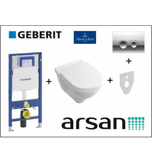 Pakabinamo WC komplektas 4 in 1 Geberit rėmas ir Villeroy & Boch O.Novo unitazas