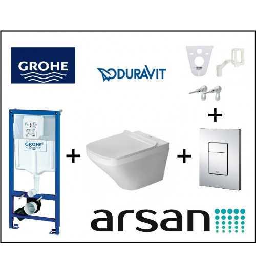 Pakabinamo WC komplektas 4 in 1 Geberit rėmas ir Duravit Durastyle unitazas