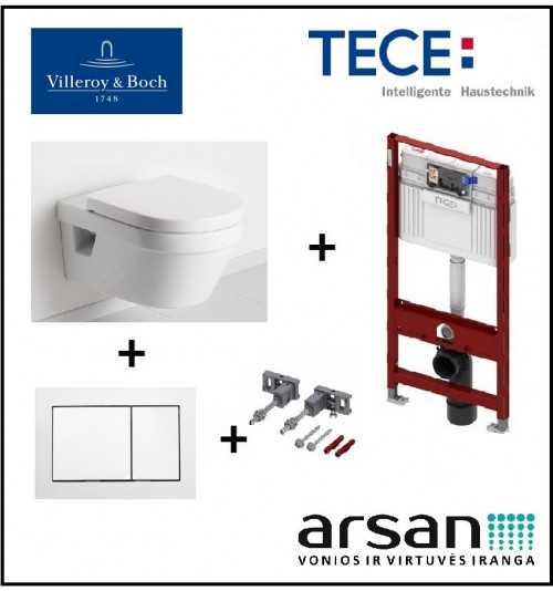 Pakabinamo WC komplektas 4 in 1 Tece rėmas ir Villeroy & Boch Omnia Architectura unitazas