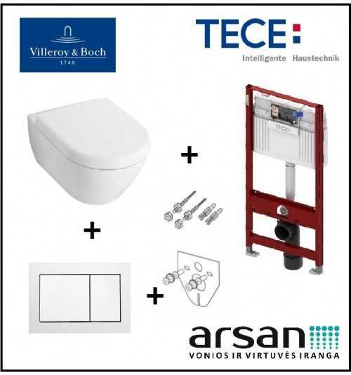 Pakabinamo WC komplektas 4 in 1 Tece rėmas ir Villeroy & Boch Subway 2.0 unitazas