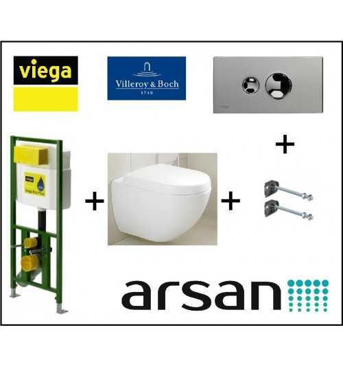 Pakabinamo WC komplektas 4 in 1 Viega rėmas ir Villeroy & Boch Subway Compact unitazas