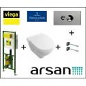 Pakabinamo WC komplektas 4 in 1 Viega rėmas ir Villeroy & Boch O.Novo unitazas