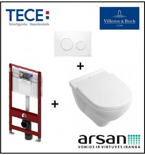 Pakabinamo WC komplektas 4 in 1 Tece rėmas ir Villeroy & Boch O.Novo unitazas
