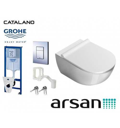 Pakabinamo WC komplektas 5in1 Grohe rėmas ir Catalano Sfera unitazas