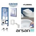 Pakabinamo WC komplektas Grohe 5in1 rėmas ir Flaminia unitazas