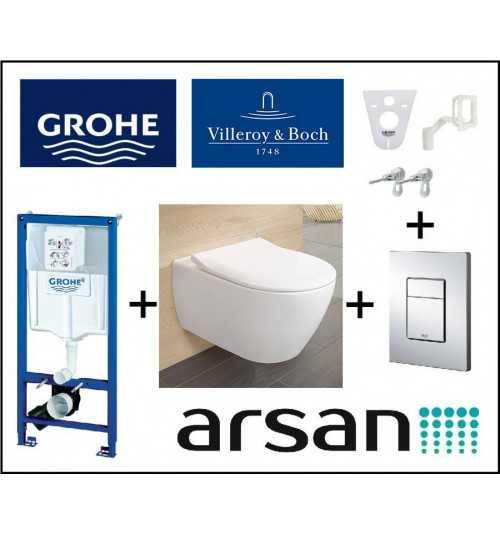 Pakabinamo WC komplektas 4 in 1 Grohe rėmas ir Villeroy & Boch Subway Compact unitazas