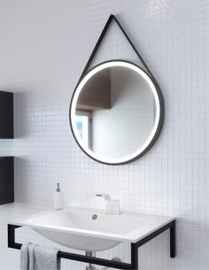 Apvalus veidrodis TEXAS su juodais rėmais, juodu odiniu diržu, LED apšvietimu
