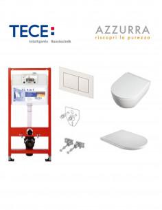 Pakabinamo WC komplektas - Tece 4in1 rėmas + unitazas Comoda EasyClean su plonu Slim SoftClose dangčiu