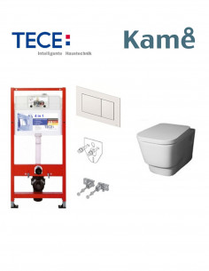 Pakabinamo WC komplektas - Tece 4in1 rėmas + unitazas Kame SoftCuadro Rimless su Soft close dangčiu