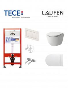 Pakabinamo WC komplektas - Tece 4in1 rėmas + unitazas Laufen Pro New Rimless su SoftClose plonu dangčiu