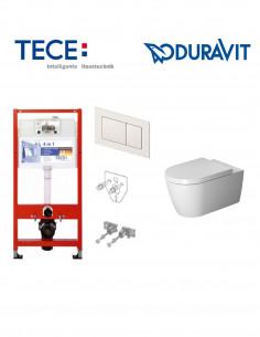 Pakabinamo WC komplektas - Tece 4in1 rėmas + unitazas Duravit ME by Starck Rimless su SoftClose dangčiu