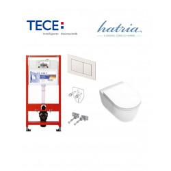 Pakabinamo WC komplektas - Tece 4in1 rėmas + unitazas Hatria FUSION PURE RIM RIMLESS 355x540 su SLIM plonu soft close dangčiu