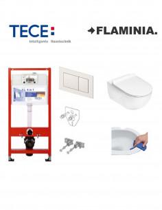 Pakabinamo WC komplektas - Tece 4in1 rėmas + unitazas Flaminia App Go Clean Rimless su Slim SoftClose dangčiu