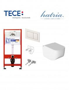 Pakabinamo WC komplektas - Tece 4in1 rėmas + unitazas Hatria NEXT PURE RIM RIMLESS