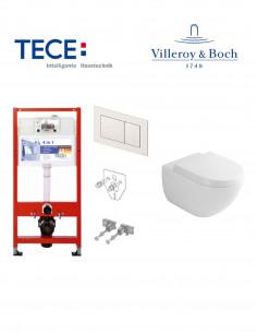 Pakabinamo WC komplektas - Tece 4in1 rėmas + unitazas Villeroy&Boch Subway