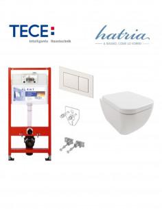 Pakabinamo WC komplektas - Tece 4in1 rėmas + unitazas Hatria BIANCA PURE RIM RIMLESS