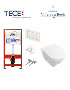 Pakabinamo WC komplektas - Tece 4in1 rėmas + unitazas Villeroy&Boch O.novo Rimless su SoftClose dangčiu