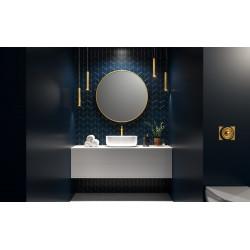 Apvalus veidrodis RONDA su aukso spalvos rėmais