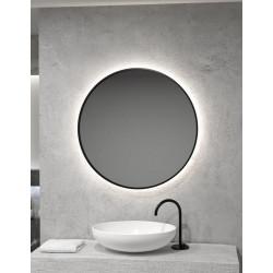Apvalus veidrodis RONDA PLUS juodais rėmais ir LED apšvietimu