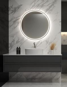 Apvalus veidrodis LUPE PLUS su juodais rėmais, LED apšvietimu