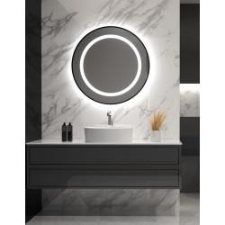 Apvalus veidrodis SELENA PLUS su juodu rėmu ir LED apšvietimu