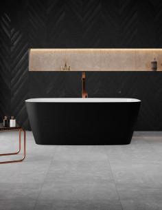 Akmens masės vonia VAYER VOLANS 1510x720 balta/juoda