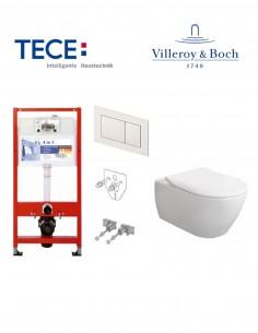 Pakabinamo WC komplektas - Tece 4in1 rėmas + unitazas Villeroy&Boch Subway 2