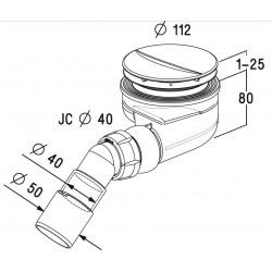 Sifonas dušo padeklui Turboflow TB90P 90mm techninis brėžinys
