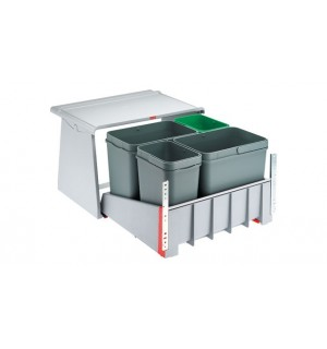 Franke durelėmis atidaromos šiukšlių rūšiavimo sistema Sorter 760 KickMatic, atidarymas pedalo paspaudimu, 2x18L+2x8L