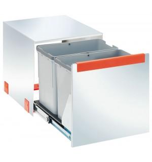 Franke ranka atidaroma šiukšlių rūšiavimo sistema Cube 40 nerūdijantis plienas, atidarymas ranka (2x14L) 134.0054.584