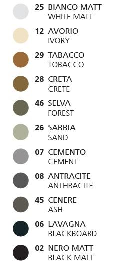 hatria praustuvų spalvų paletė