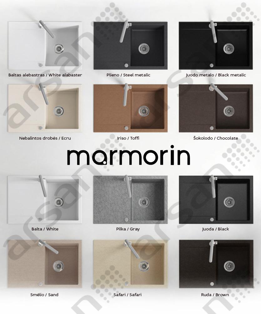 granitinės virtuvės plautuvės marmorin spalvos