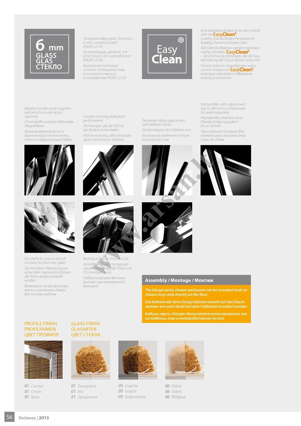 Duso kabinu kolekcija Radaway design